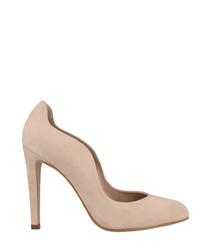 Nude suede curve stiletto heels