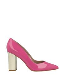Pink patent pointy block heels