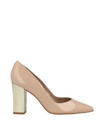 Nude patent pointy block heels