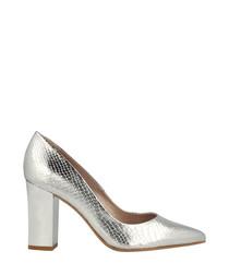 Silver-tone moc-croc block heels
