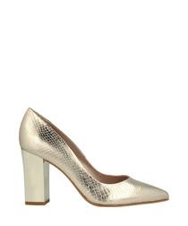Gold-tone moc-croc block heels
