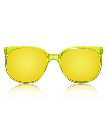 Sport neon yellow rounded sunglasses