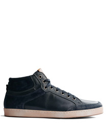 Leicester blue leather hi-top sneakers