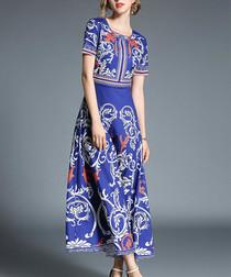 Blue print short sleeve maxi dress