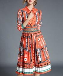Orange print pleated skirt midi dress