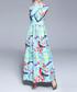 Aqua & pink print wide collar maxi dress Sale - Kaimilan Sale