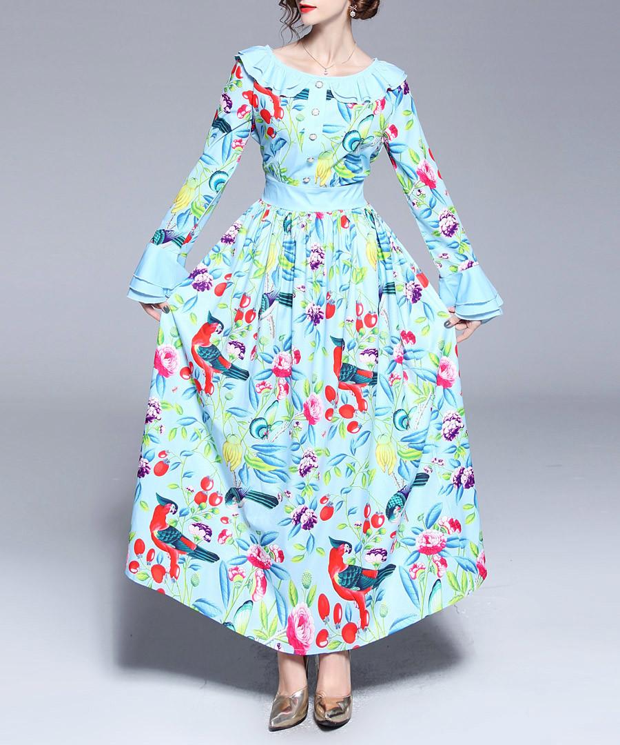 Aqua & pink print wide collar maxi dress Sale - Kaimilan