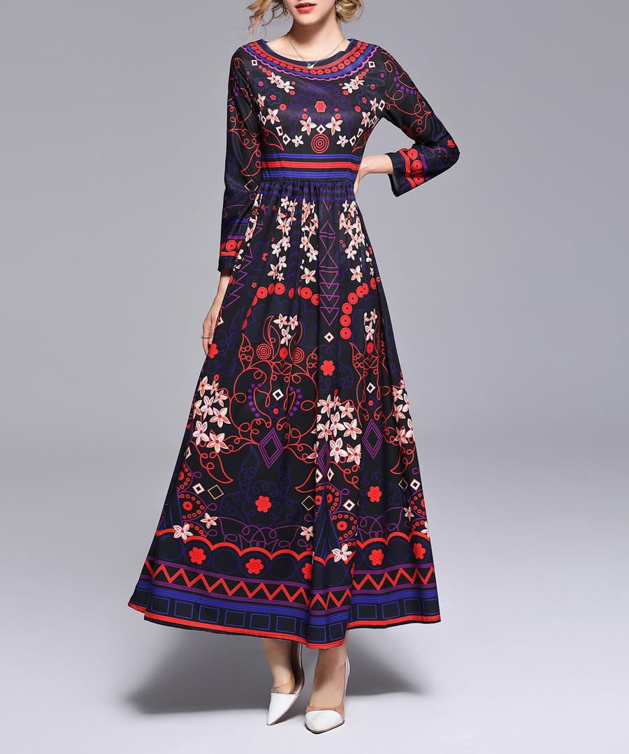 Red & multi-colour print maxi dress Sale - Kaimilan