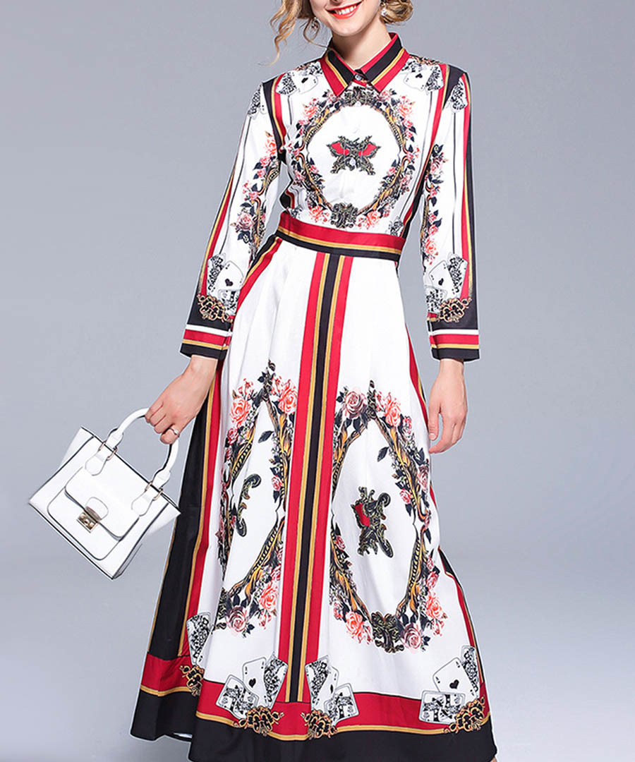 Red & white print collar maxi dress Sale - Kaimilan