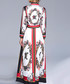 Red & white print collar maxi dress Sale - Kaimilan Sale