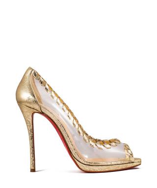 0fdc8f88896c Christian Louboutin. Hargaret gold-tone leather peeptoe heels