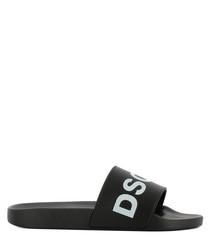 Men's Black rubber logo sandals
