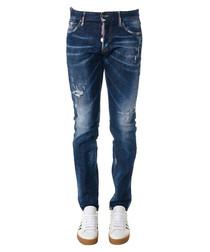 Men's dark blue cotton slim jeans