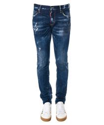 Men's blue cotton distressed denim jeans
