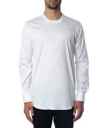 Men's white cotton long sleeve shirt