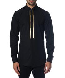 Men's black cotton long sleeve top
