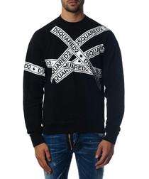 Men's black cotton logo jumper