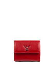 Red leather flap cross body bag