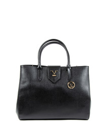 Black leather logo grab bag
