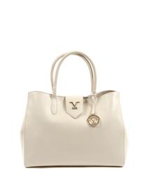 Cream leather logo grab bag