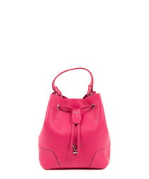 Fuchsia leather bucket bag