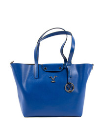 Blue leather trapeze shopper bag