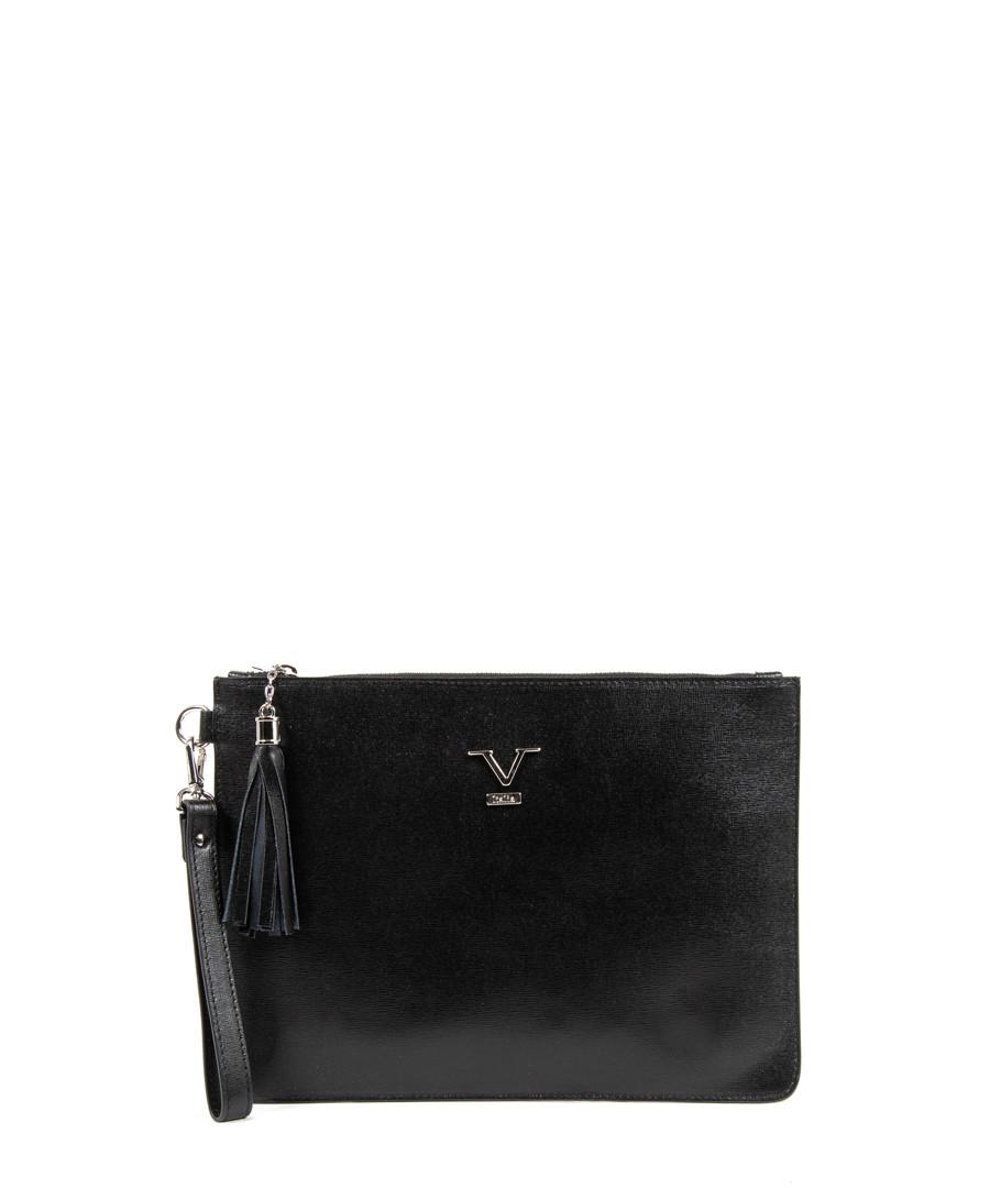 Black leather logo zip-top clutch bag Sale - v italia by versace 1969 abbigliamento sportivo srl milano italia