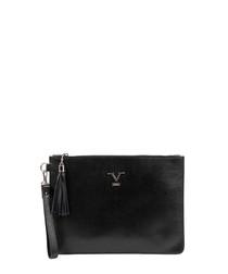 Black leather logo zip-top clutch bag