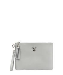 Grey leather logo zip-top clutch bag