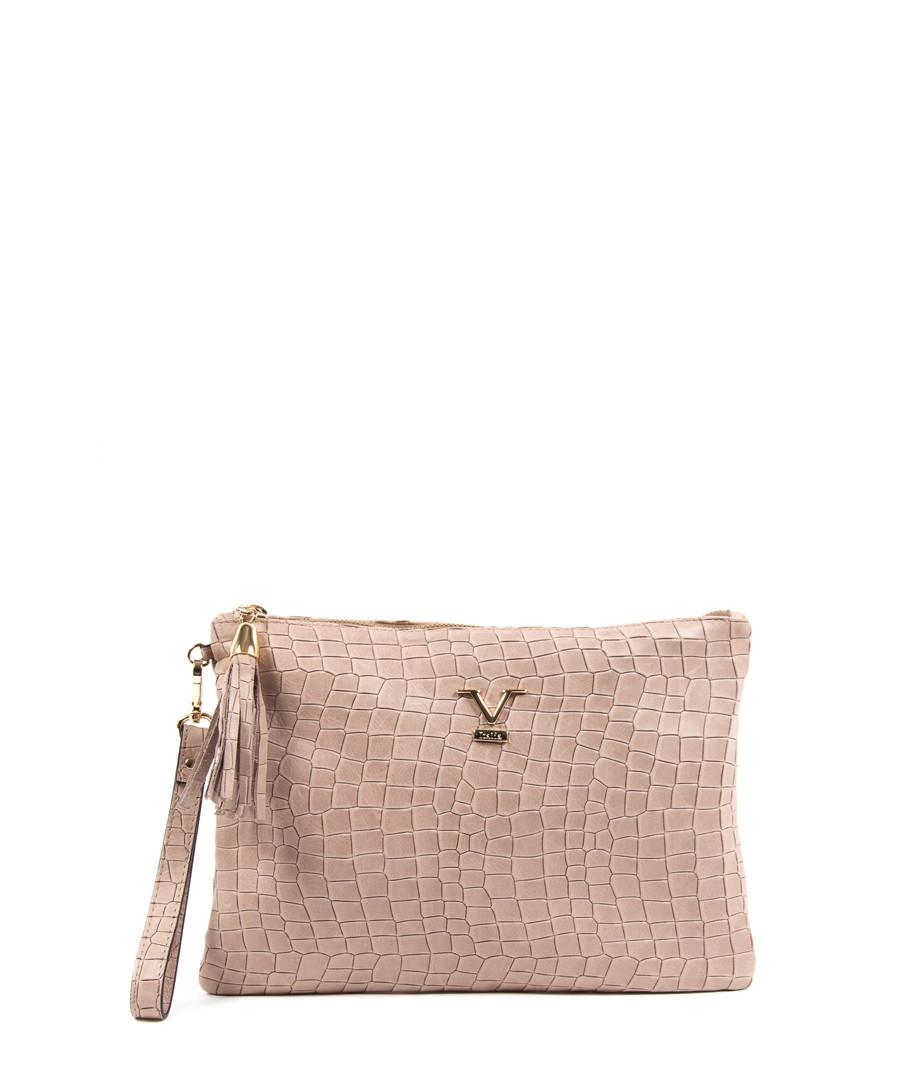 Nude leather logo moc-croc clutch bag Sale - V ITALIA BY VERSACE 1969 ABBIGLIAMENTO SPORTIVO SRL MILANO ITALIA