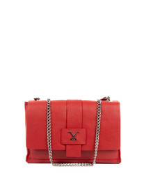 Red calfskin chain shoulder bag