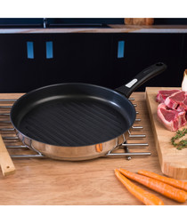 Cook & Pour steel round grill pan 28cm