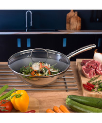 Cook & Pour steel stirfry pan & lid 28cm