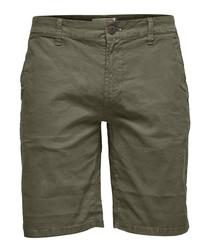 Olive cotton shorts