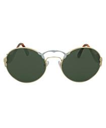 Brown frameless sunglasses