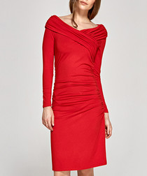 Red off-the-shoulder long sleeve dress
