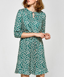 Green print 3/4 sleeve ruffle mini dress