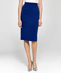 Blue high-waist pencil skirt