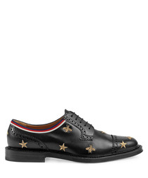 Men's black leather Oxfords