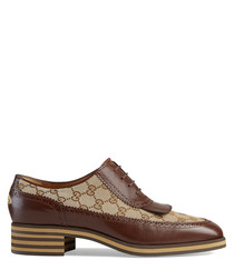 Men's brown leather print lace-ups