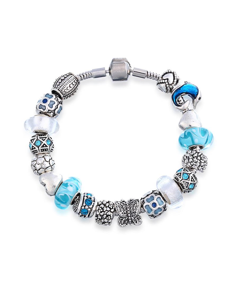 Silver-tone & blue bead bracelet Sale - mestige