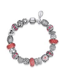 Silver-tone & pink bead bracelet