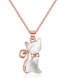 Rose gold-tone cat pendant necklace