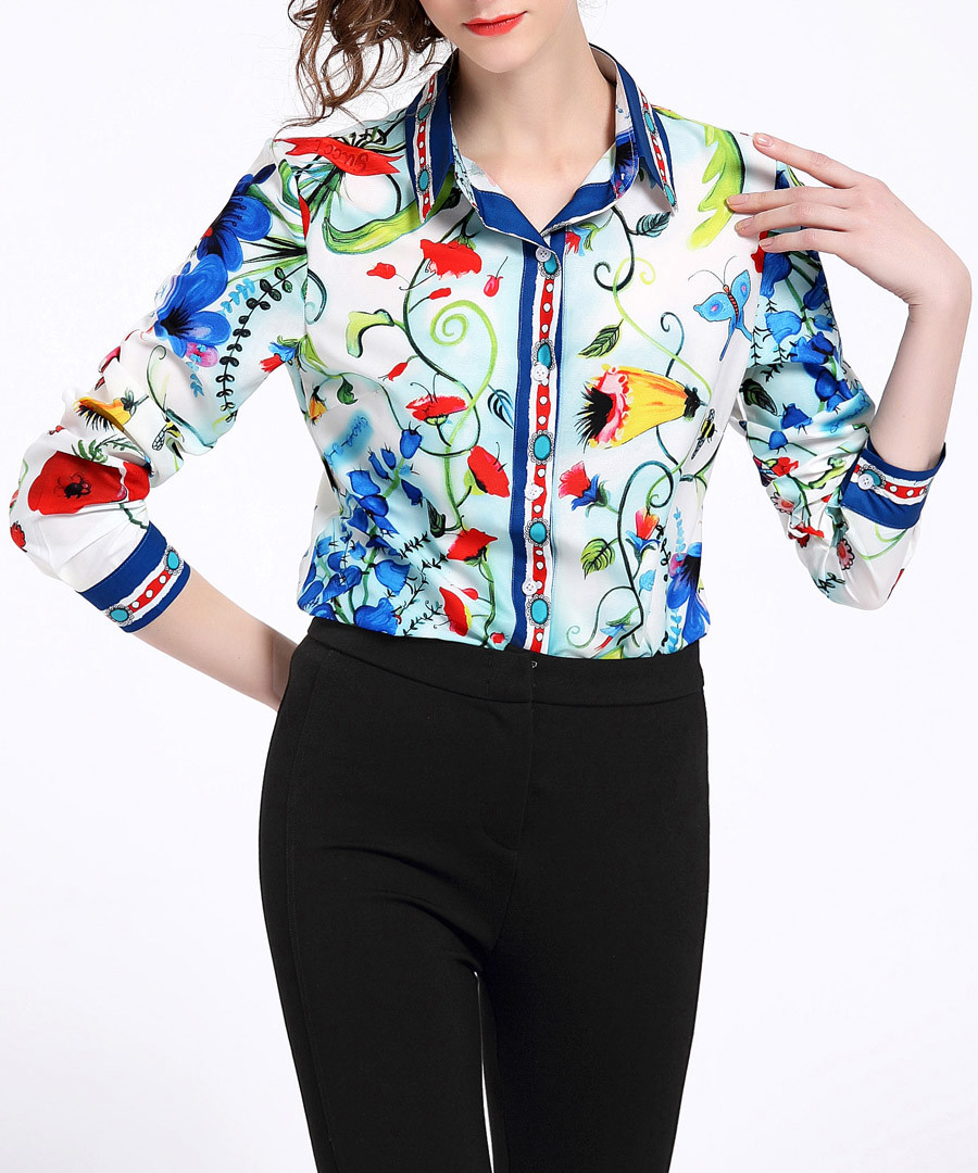 Multi-colour print button-up shirt Sale - Kaimilan