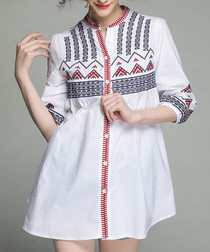 White embroidered 3/4 sleeve tunic