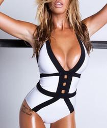 White & black plunge swimsuit