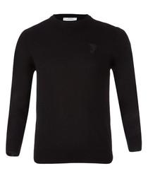 Black pure wool crew neck jumper