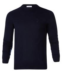 Dark blue pure wool crew neck jumper