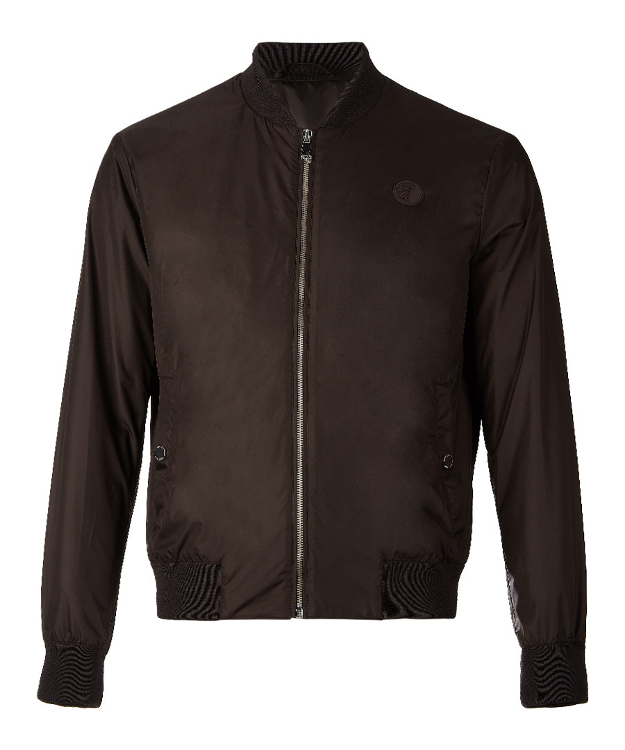 Brown zip-up branded bomber jacket Sale - versace collection