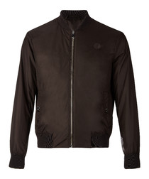 Brown zip-up bomber jacket